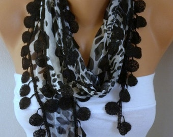 Black Leopard Print Cotton  Scarf-Fall Shawl-Cowl,Bridesmaid Gift,Gift Ideas For Her,Women Fashion Accessories