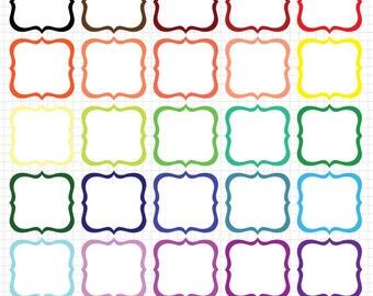 Digital Frames Clipart, Digital Download Frame, Bright Bracket Frames Clip Art Set
