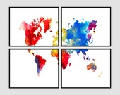 "World Map Watercolor Abstract Map 5 - 4 Panel - 11"" x 14"" Prints Print Poster"