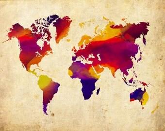World Map Absract 3 Grunge - Print Poster