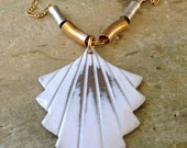 40% OFF ERRYTHANG // use code: ERRYTHANG // handmade vintage white fan on figaro chain necklace