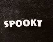 "Vintage White Ceramic Push Pins ""SPOOKY"" (c.1940s) - Halloween Bulletin Board Decor, Altered Art Supply, and more"