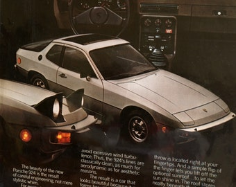Vintage Porsche 924 Original Print Ad, Period Paper (1976) - Automobile Collectible, Ephemera
