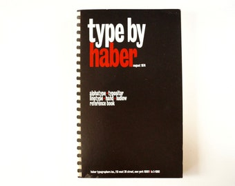 """Vintage """"Type by Haber"""" Book (c.1974) - Hard-to-Find Collectible, Typography Art, Altered Art, Office Decor"""