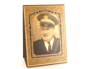 Antique Colorized Photograph of World War I Officer in Folder/Frame (c.1940s) - Collectible, altered art, and more