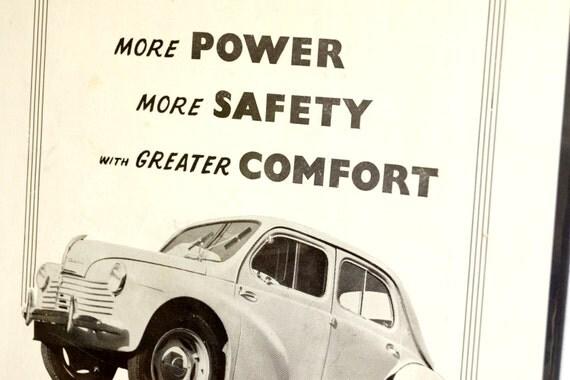Vintage Renault 750 Original Print Ad, Period Paper (1952) - Automobile Collectible, Ephemera