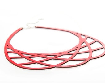 Geometric Necklace - Iskin Mila Necklace Leather - Contemporary Jewelry - Leather necklace - Laser Cut