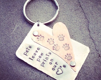 """hand stamped multi metal chain, """"pets leave paw prints on our hearts"""""""