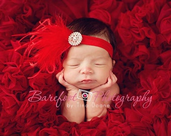 Baby Headband..Baby Girl Headband..Red Headband for Baby Girls..Red feather Headband..Vintage inspired Red Feather Headband