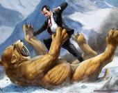 Richard Nixon fighting a Sabertooth Tiger HQ
