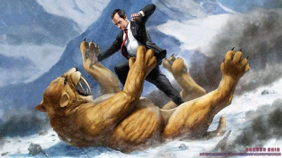 Richard Nixon fighting a Sabertooth Tiger HQ *various sizes available*