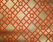 Vintage Flock Wallpaper by the Yard 70s Retro Flock Wallpaper - 1970s Orange Flocked Bamboo Lattice on Metallic Gold