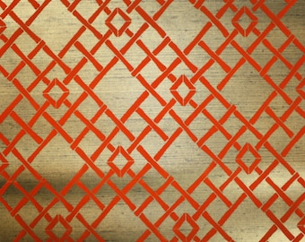 Retro Flock Wallpaper by the Yard 70s Vintage Flock Wallpaper - 1970s Orange Flocked Bamboo Lattice on Metallic Gold