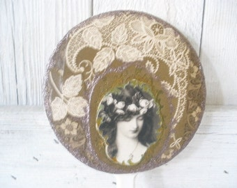 Vintage hand mirror Art Nouveau maiden collage embellished lace