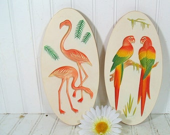 Relief Colorful Tropical Birds ChalkWare Plaque Set - Vintage Miller Studio Style Plaster Work Duo - Shabby Chic Cottage Wall Decor