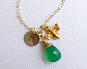 Gold Honey Bee Birthstone Necklace on 14k Gold Filled Chain -- Personalized Initial -- Choose Your Stone (Emerald Onyx Shown)