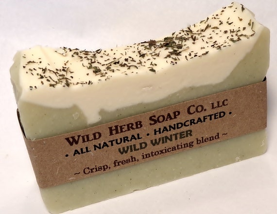 Mint ALL NATURAL Soap and Shampoo Bar - Cold Process (Vegan) Wild Winter Scent