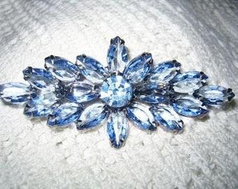 Vintage Juliana Large Open Back Prong Set Cut Crystal Blue Brooch
