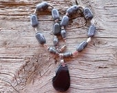Onyx pendant,porcelan,and silver beaded necklace 21 inch