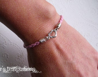 My Tiny Heart Pink Braided Leather Bracelet Mommy and Me Stackable Leather Bracelet Child Bracelet Handmade in the USA