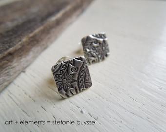 Handmade Blossom Post Earrings - Sterling Silver - Squares - Nature Inspired