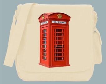 British Red Phone Box Booth Canvas Messenger Bag, 15x11x4