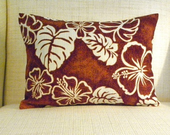 Throw Pillow Cover - Vintage Barkcloth Fabric - Brown and Cream Hibiscus - 12 x 16