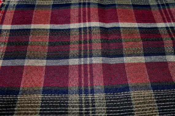 "Vintage Upholstery Fabric/Vintage Plaid Fabric/Vintage Home Decor Fabric/REMNANT FABRIC/3 Separate Pieces/42"" x 5/32"" x 12.5""/56"" x 12.5"""