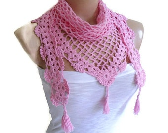 Crochet Lace Scarf ,valentine, Holiday Accessories, fashion trends,  unique gift, Mothers day, Bamboo scarf, Pink scarves
