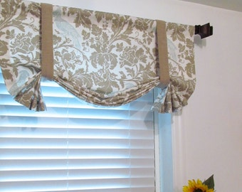 TIE UP Lined Valance Barber Taupe Robin Custom Made Window Treatments