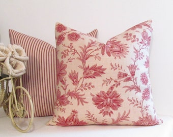 Designer Accent Pillow Swavelle Ticking Red Waverly Timeless Decorative Pillow Cover Handmade in the USA