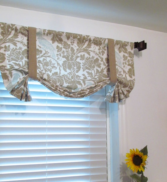 Charming Items Similar To TIE UP Lined Valance Barber Taupe Robin Custom Sizing  Available On Etsy