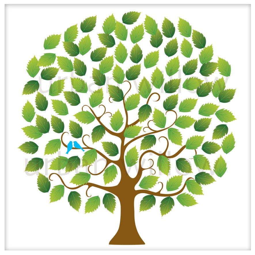 Wedding Guest Signing Tree: WEDDING SIGNING TREE With Blue Love Birds. 100 Guest Leaves