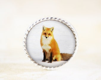 Sitting Fox Brooch - Orange Fox Jewelry Pin , Nature Fox Photography Broach