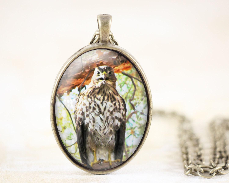 hawk necklace pendant hawk jewelry bird totem by