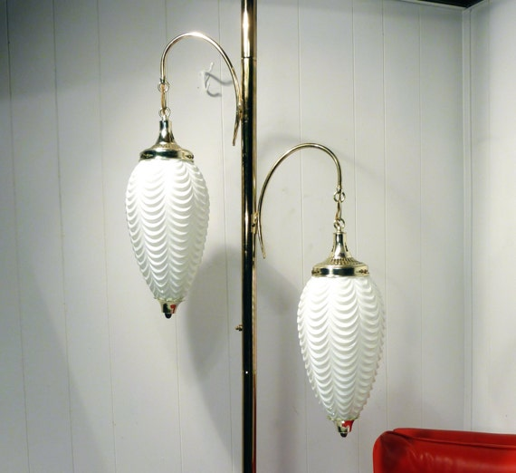 Eames Era Tension Lamp Mid Century Floor Lamp Glass Shaded