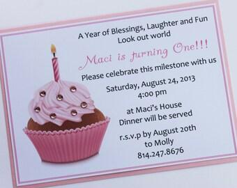Sparkling Cupcake 1st Birthday Invitation