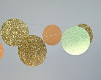 Glitter Paper Garland, Gold, Peach and Mint, Bridal Shower, Baby Shower, Party Decorations, Birthday Decoration