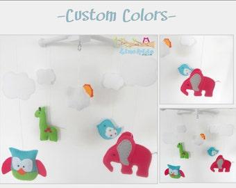 Baby Crib Mobile- Elephant and giraffe Mobile-custom Made Mobile