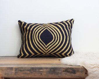 "Aya contour 12x16"" pillow cover handprinted in metallic gold on indigo organic hemp"