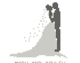 Modern Bride & Groom Silhouette Cross Stitch Pattern/Bride and Groom Cross Stitch/Cross Stitch Bride/Cross Stitch Wedding Pattern/PDF File