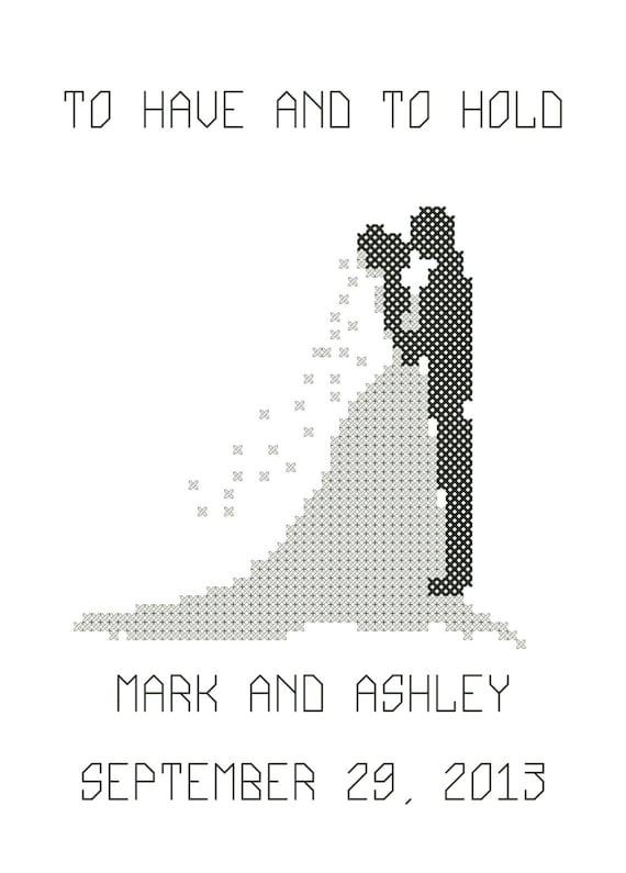 Modern Bride & Groom Silhouette Cross Stitch Pattern/Bride and Groom Cross Stitch/Cross Stitch Bride/Cross Stitch Wedding Pattern/PDF File