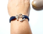 Nautical Anchor Bracelet with a Silver Pull Clasp Navy Ship Bracelet Nautical Bracelet Bridal Party Gift Brides Grooms Gift Fathers Day Gift