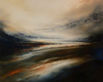 "Large Canvas Abstract Oil Painting by Artist Simon Kenny ""Drifting"""