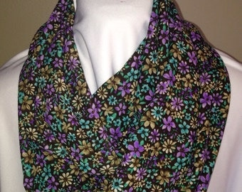 Gold, Purple, Green and Black Floral Print Infinity Scarf