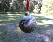 Hand Painted Christmas Glass Ornament Chickadee Bird no.101 - ADragonflysFancy