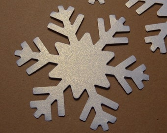 20 White Shimmer Large Snowflake Die Cuts - Paper Punches - Scrapbooking Embellishments - Winter Wedding - Holiday - Christmas - Shimmery