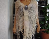 wrap/scarf beige huge sparkle with tassels romantic Stevie Nicks style handmade knitted accessories gift idea for her by goldenyarn