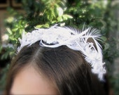 White delicate chic bridal headband