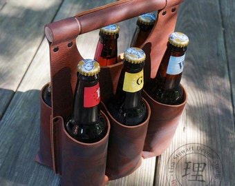 Full Grain Leather Six Pack Beer Caddy Tote Brown Amber Ale Black Tan